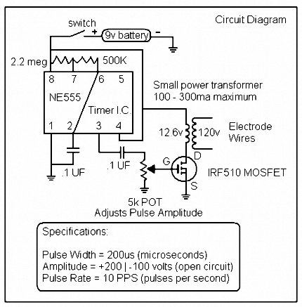 TENS schematic circuit diragram & electronic schematic, build a tens unit with basic electronic parts